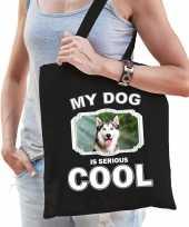 Husky honden tasje zwart volwassenen en kinderen my dog serious is cool kado boodschappentasje 10254078