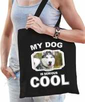 Husky honden tasje zwart volwassenen en kinderen my dog serious is cool kado boodschappentasje