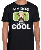 Jack russel honden t shirt my dog is serious cool zwart voor heren