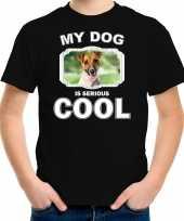 Jack russel honden t-shirt my dog is serious cool zwart voor kinderen 10256724