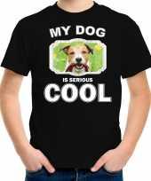 Jack russel honden t shirt my dog is serious cool zwart voor kinderen