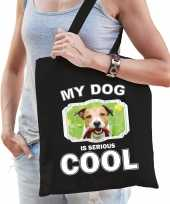 Jack russel honden tasje zwart volwassenen en kinderen my dog serious is cool kado boodschappentas