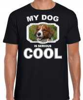Kooiker honden t shirt my dog is serious cool zwart voor heren