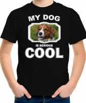 Kooiker honden t shirt my dog is serious cool zwart voor kinderen
