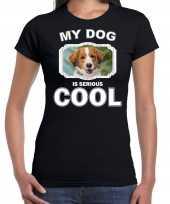Kooikerhondjes honden t shirt my dog is serious cool zwart voor dames