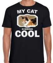 Lapjeskat katten poezen t shirt my cat is serious cool zwart voor heren