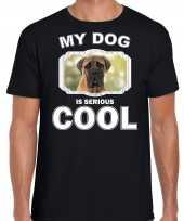 Mastiff honden t shirt my dog is serious cool zwart voor heren