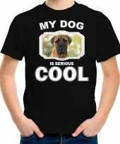 Mastiff honden t shirt my dog is serious cool zwart voor kinderen