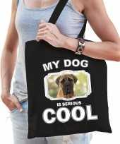 Mastiff honden tasje zwart volwassenen en kinderen my dog serious is cool kado boodschappentasje