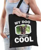 Mechelse herder honden tasje zwart volwassenen en kinderen my dog serious is cool kado boodschappe