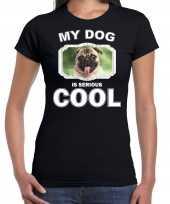 Mopshond honden t shirt my dog is serious cool zwart voor dames