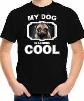 Mopshond honden t-shirt my dog is serious cool zwart voor kinderen 10256713