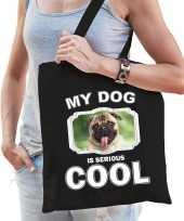 Mopshond honden tasje zwart volwassenen en kinderen my dog serious is cool kado boodschappentasje