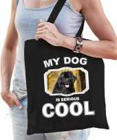 Newfoundlander honden tasje zwart volwassenen en kinderen my dog serious is cool kado boodschappe 10254080