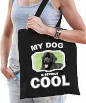 Newfoundlander honden tasje zwart volwassenen en kinderen my dog serious is cool kado boodschappe