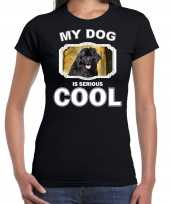 Newfoundlanders honden t-shirt my dog is serious cool zwart voor dames