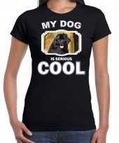 Newfoundlanders honden t shirt my dog is serious cool zwart voor dames
