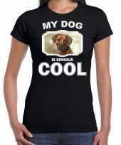 Pronkruggen honden t shirt my dog is serious cool zwart voor dames