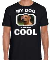 Rhodesische pronkrug honden t shirt my dog is serious cool zwart voor heren