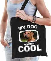 Rhodesische pronkrug honden tasje zwart volwassenen en kinderen my dog serious is cool kado boods