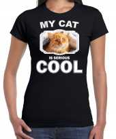 Rode kat katten poezen t shirt my cat is serious cool zwart voor dames