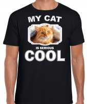 Rode kat katten poezen t shirt my cat is serious cool zwart voor heren