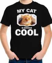 Rode kat katten poezen t shirt my cat is serious cool zwart voor kinderen