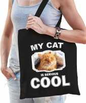 Rode kat katten tasje zwart volwassenen en kinderen my cat serious is cool kado boodschappentasje