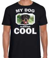 Rottweiler honden t shirt my dog is serious cool zwart voor heren