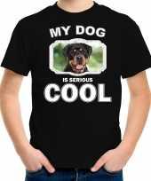 Rottweiler honden t shirt my dog is serious cool zwart voor kinderen