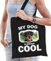 Rottweiler honden tasje zwart volwassenen en kinderen my dog serious is cool kado boodschappentasj