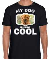 Shar pei honden t shirt my dog is serious cool zwart voor heren
