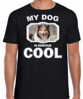 Sheltie honden t shirt my dog is serious cool zwart voor heren