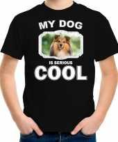 Sheltie honden t shirt my dog is serious cool zwart voor kinderen
