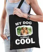 Sheltie honden tasje zwart volwassenen en kinderen my dog serious is cool kado boodschappentasje