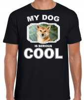 Shiba inu honden t shirt my dog is serious cool zwart voor heren