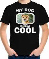 Shiba inu honden t shirt my dog is serious cool zwart voor kinderen