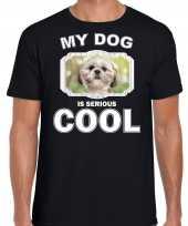 Shih tzu honden t shirt my dog is serious cool zwart voor heren