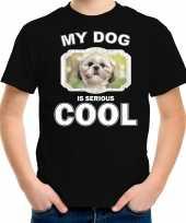 Shih tzu honden t shirt my dog is serious cool zwart voor kinderen