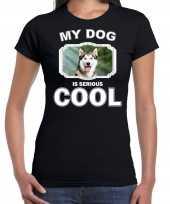 Siberische huskys honden t-shirt my dog is serious cool zwart voor dames
