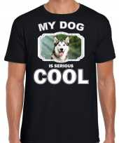 Siberische huskys honden t shirt my dog is serious cool zwart voor heren