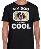 Sint bernard honden t shirt my dog is serious cool zwart voor heren