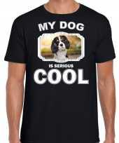 Spaniel honden t shirt my dog is serious cool zwart voor heren 10254025