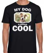 Staffordshire bull terrier honden t shirt my dog is serious cool zwart voor heren 10254022