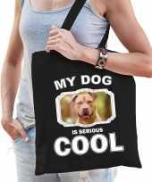 Staffordshire bull terrier honden tasje zwart volwassenen en kinderen my dog serious is cool kado