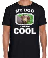 Teckel honden t shirt my dog is serious cool zwart voor heren