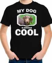Teckel honden t shirt my dog is serious cool zwart voor kinderen