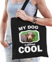 Teckel honden tasje zwart volwassenen en kinderen my dog serious is cool kado boodschappentasje