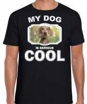 Weimaraner honden t shirt my dog is serious cool zwart voor heren