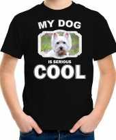 West terrier honden t shirt my dog is serious cool zwart voor kinderen